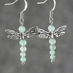 Jade Earrings dragonfly stone drop for women by AniDesignsllc, $8.95