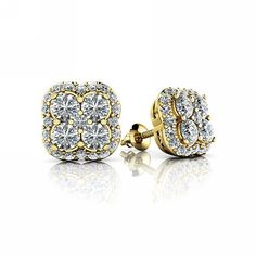 Our exquisite stud earrings are set with fine brilliant diamonds which weight in total. The earrings measure x crafted from high-polished yellow gold. Diamond Stud, Brilliant Diamond, Colored Diamonds, Bling, Stud Earrings, Fancy, Costume, Luxury, Yellow