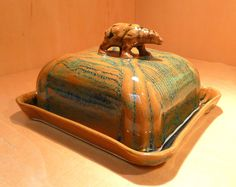 Golden Bear Butter Dish - Porcelain, one of a kind by Tricia McGuigan, represented by Human Arts Gallery in Ojai, CA