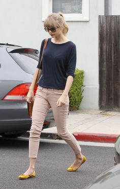 Taylor Swift street style with yellow flats