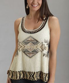 Cream Tribal Sequin Tank - Women - Stetson