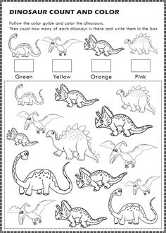 Free Printable: Dinosaurs I Spy Count and Color Activity Page for Kids   It's Pam Del