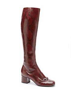 GUCCI - Lillian Python Horsebit Knee-High Boots