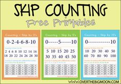 Skip Counting Free Printables from www.overthebigmoon.com!  #skipcounting #counting #numbers
