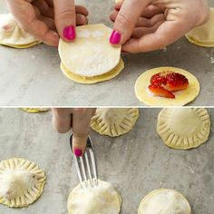Fill rounds of puff pastry dough with diced strawberries and sugar to make these pies.
