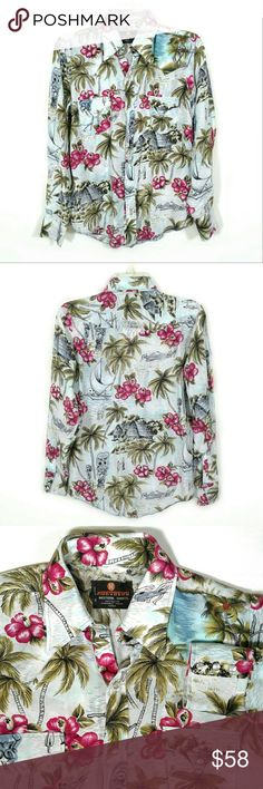"""Vtg 50s Hawaiian Print Cowboy shirt * Offers are awesome :) * Bundles make it better! Rare 1950s cowboy Western shirt in Hawaiian print of ocean beaches, palm trees, sailboats, tiki masks, and hibiscus flowers. Pearly snap button front closure. Two button flap chest pockets. Long-sleeve w/ 3 button cuffs. Curved hem. 100% rayon.  - Brand: MoroBoro Western Shirts, Made in Korea - Best fits men's small. Measurements laid flat: Pit to pit 19""""  Waist 18""""  Length 27"""" - Very good condition; avg…"""