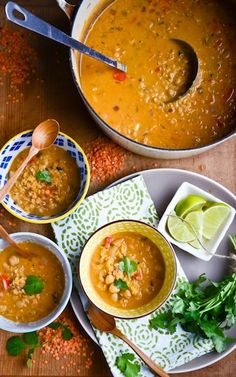 red lentil coconut soup | Scaling Back #indian #soup #redlentils #onion #peppers #jalapeno #serrano #ginger #garlic #curry #cinnamon #tomatopaste #coconutmilk #chickpeas #lime #cilantro #vegan #glutenfree