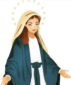 Catholic Art, Catholic Saints, Religious Art, Catholic Wallpaper, Jesus Wallpaper, Divine Mother, Blessed Mother Mary, Jesus Cartoon, Mama Mary