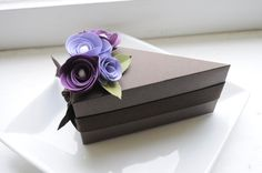 Chocolate cake with purple flowers  paper cake by imeondesign