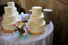 My first wedding cake project, New Orleans, LA. Vanilla Buttercream with Dark Chocolate Cake.