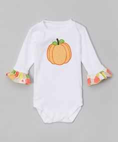Look at this Caught Ya Lookin' Orange Pumpkin Ruffle Bodysuit - Infant on #zulily today!