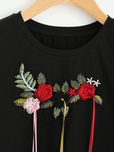 Flower Embroidered Ribbon Detail T-shirt