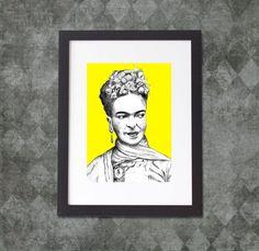 Frida Kahlo Frida Khalo Art Print Portrait Wall Art Womens Face Mexican Art Bohemian Art Boho Art Feminist Art Iconic Women Eclectic Decor