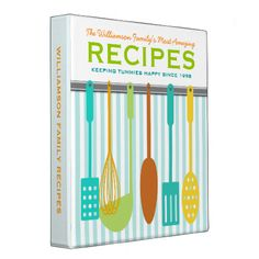 Retro Look Family Recipes Personalized 3 Ring Binder - Fun retro/vintage look kitchen utensils on the wall on this personalized recipe binder - customize the text to make this. on demand art themed design by - . Binder Organization, Recipe Organization, Organizing Ideas, Kitchen Organization, Diy Recipe, Clay Pinch Pots, Family Meals, Family Recipes