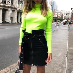 ccd991768495e Turtleneck Long Sleeve Autumn T shirt Women Fluorescent Green Pullovers  Winter Slim Streetwear Casual Tshirt Tops - Online Retail Coupons