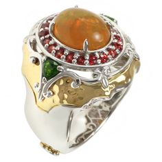 Michael Valitutti Two-tone Ethiopian Opal, Chrome Diopside and Orange Sapphire Ring