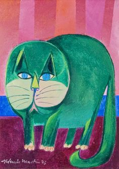 Aldemir Martins - (Modernismo) Brasileiro - Pinturas com Títulos - Pinturas do A'Uwe Silk Painting, Painting & Drawing, Hippie Art, Cat Colors, Coq, Cat Drawing, Pretty Cats, Whimsical Art, I Love Cats