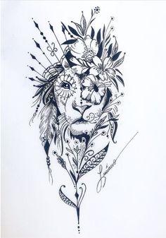 Tatuagens de Leões Femininos - Mais de 120 Modelos - Tatuagens Ideias Leo Tattoos, Tattoos To Draw, Forarm Tattoos, Hip Thigh Tattoos, Tattos, Animal Tattoos, Tattoo Drawings, Back Tattoos, Cute Tattoos