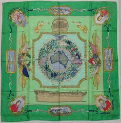 "Auth HERMES ""Le Geographe"" by Sandra Laroche Green Silk Scarf 6107 #Hermes #Scarf"