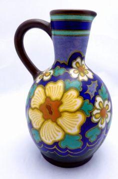 Vintage-Gouda-Pottery-Plateelbakkerij-Zuid-Holland-Large-Pitcher-Vase-20063