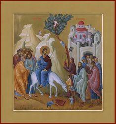 Entry into Jerusalem / Palm Sunday Byzantine Art, Byzantine Icons, Religious Icons, Religious Art, Church Icon, Roman Church, Christian Artwork, Life Of Christ, Catholic Art