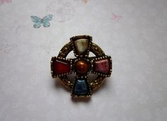 #CelticCross #VintageBrooch, £6.50 free P&P by JessamyElvira:  A Celtic Cross style brooch.   Set with five different coloured stones in a gold metal with pattern work on the circle of the cross.   The brooch is just under 1 ¼ inches wide, at widest point, and has a strong fastening.