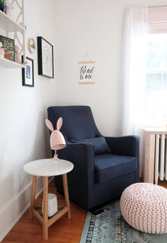 Our Editor Reveals Her Daughter's Gorgeous Nursery (yes, it's that good Navy Glider in Nursing Nook Blue Nursery Girl, Blush Nursery, Woodland Nursery Girl, Babies Nursery, Nursery Room, Nursery Decor, Room Decor, Modern Nursery Furniture, Living Room Ornaments