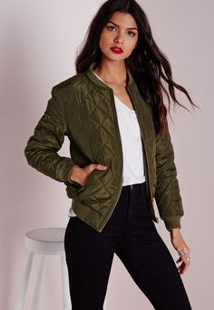 Quilted Padded Bomber Jacket Khaki - Coats and Jackets - Bomber Jackets - Missguided