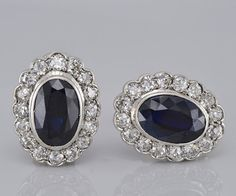 Genuine Art Deco 8.40 Ct natural blue sapphire and 2.60 Ct old cut diamond platinum earrings