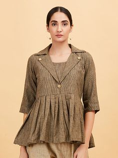 The Loom- An online Shop for Exclusive Handcrafted products comprising of Apparel, Sarees, Jewelry, Footwears & Home decor. Kurti Neck Designs, Blouse Designs, Khadi Kurta, Stylish Dress Designs, Fashion Outfits, Womens Fashion, Fashion 2017, Dress Outfits, Short Tops