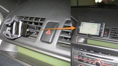 "How to Build a Car Mount for Your Cellphone from Office Supplies. from Lifehacker.   Supplies:      * Large (2"" wide) binder clips      * String for wrapping (The blogger found black macramé thread at local craft store)      * Rubber bands (black bands found in office supply store)      * Duct tape (of course! Black can be found in many stores)"