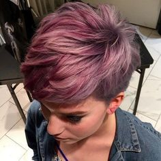 70 Overwhelming Ideas for Short Choppy Haircuts Choppy Pastel Burgundy Hair Short Choppy Haircuts, Short Hair Cuts, Short Hair Styles, Choppy Bangs, Pixie Cuts, Short Wavy, Dyed Pixie Cut, Pixie Cut Color, Choppy Pixie Cut