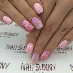 Glittering Pink Nails