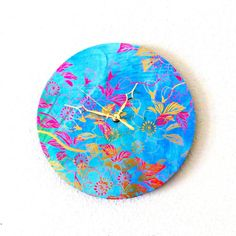 Bohemian Wall Clock - Blue - Pink-Wall Clock - Home and Living - Home Decor - Decor and Housewares - Unique Wall Clocks - BOHO Decor on Etsy, $49.00