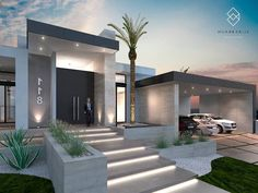 House Outside Design, Home Stairs Design, House Front Design, Entrance Design, House Entrance, Modern Architecture House, Architecture Design, Design Entrée, Front House Landscaping