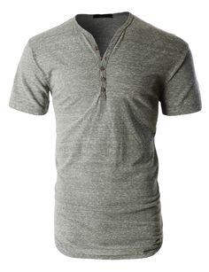 LE3NO PREMIUM Mens Lightweight Short Sleeve Crewneck Henley Shirt