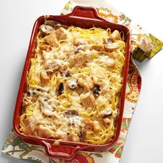 Mom's Turkey Tetrazzini Recipe -Filled with family-friendly flavors, a pleasant peppery kick and a creamy from-scratch sauce, this hearty dish is just the kind of stick-to-your-ribs comfort food you're looking for. —Emma Hathway Price, Tampa, Florida