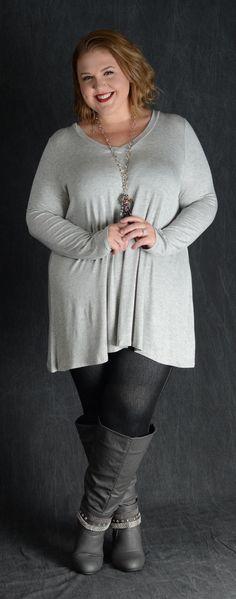 Heather V-Neck Top - Curvy Plus Size Boutique - 2