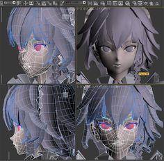 まるでリズムの悪い絵と日記のブログ。それでも____ 楽しい出来事があればいいなぁ、と、言う、ブログ。 Character Model Sheet, Character Modeling, Game Character, Character Concept, Concept Art, 3d Cartoon, Cartoon Styles, Face Topology, Manga Tutorial