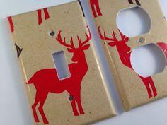 Red Deer Light Switch Cover / Deer Nursery by COUTURELIGHTPLATES Rustic deer decor , deer nursery ideas, man cave ideas, man cave decor, deer nursery, deer bathroom decor #deernurseryideas #mancavedecor