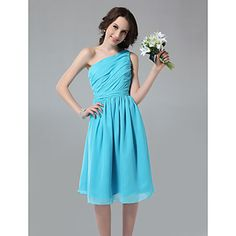 Jodie?  A-line One Shoulder Knee-length Side-Draped Chiffon Bridesmaid Dress in SILVER – USD $ 99.99