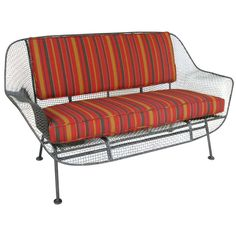 View this item and discover similar for sale at - a vintage wrought iron and steel mesh settee from Russell Woodard's classic and iconic Sculptura series. Porch Furniture, Outdoor Furniture, Outdoor Sofa, Outdoor Decor, Steel Mesh, Settee, Wrought Iron, Couch, Sofa