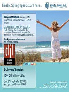 Introducing our April specials! Also, we have added an additional laser to our selection - the GentleMax laser!