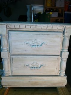 End table in annie sloan old white and dry brushed with French linen....dark wax