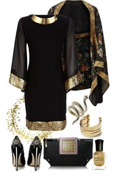 Black Dress With Kimono Cover-Up
