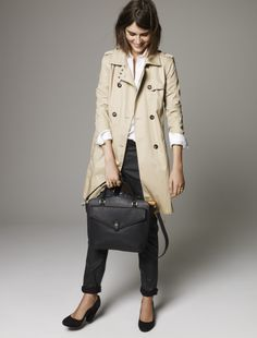 Madewell Belted Trench worn with Coated Denim Rivington Trousers + The Sloane Satchel.
