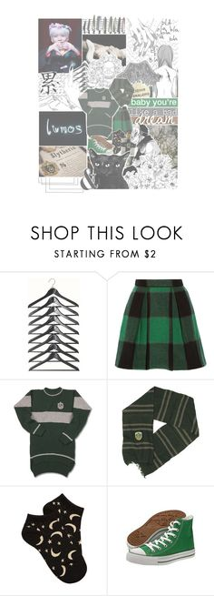 """""""""""or perhaps in slytherin, you'll make your real friends, those cunning folk use any means, to achieve their ends."""" 🎇 botkpr, round 00   welcome to hogwarts!"""" by josi-heart ❤ liked on Polyvore featuring ESPRIT, Sea, New York, Forever 21, Converse, bokpr and goals"""