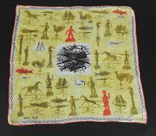 Vintage Tammis Keefe Hankie Statues Weathervanes Umbrellas Print Handkerchief