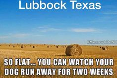So flat, you can stand on a dime and see Dallas...Lubbock, Texas