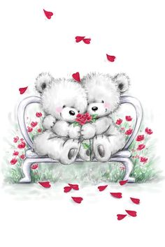 Cute Bear Couple Cuddling with Hearts Falling, Anniversary Loved One card. Cards are shipped the Next Business Day. Baby Animal Drawings, Cute Drawings, Photo Ours, Teddy Bear Drawing, Teddy Bear Quotes, Valentines Day Drawing, Art Mignon, Cute Love Pictures, Teddy Bear Pictures